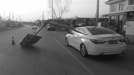 限速牌被吹倒砸中轿车 车主55个电话没找到归谁管
